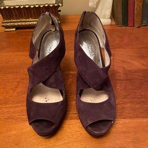 Michael Kors Purple Suede Cross Strap Heels